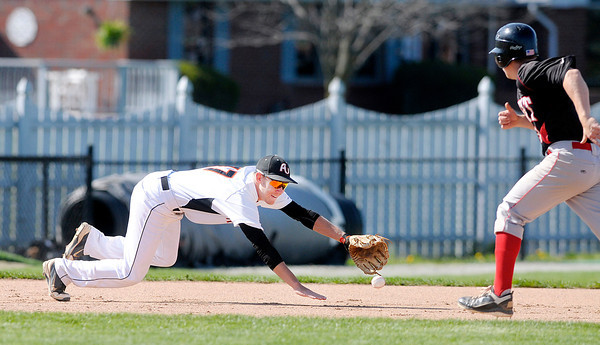 Don Knight | The Herald Bulletin<br /> Anderson University third baseman Andrew Eiler dives for a hit but just misses it as the Ravens hosted Rose-Hulman on Tuesday.
