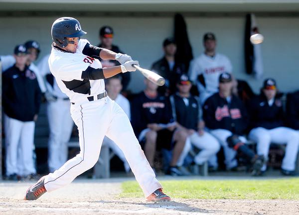 Don Knight | The Herald Bulletin<br /> Anderson University's Jacob Craft connects on a triple with the bases loaded  giving the Ravens a 4-3 lead over the Rose-Hulman Engineers on Tuesday.