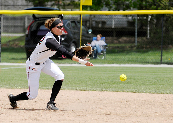 Don Knight | The Herald Bulletin<br /> Nichole Frazier tosses the ball to second base.