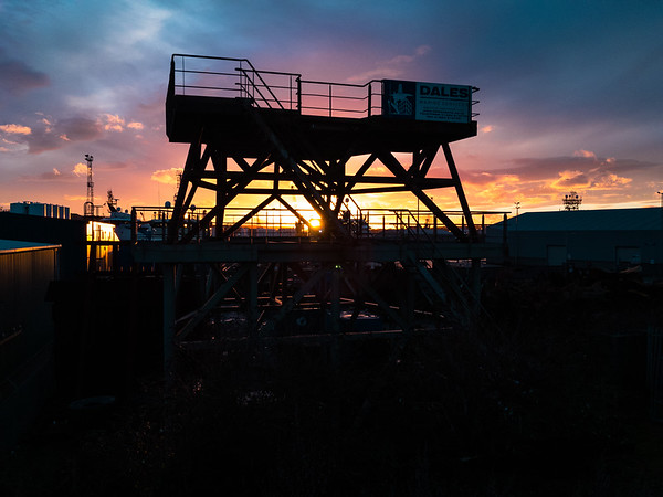 Sunset against the scaffold