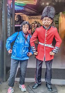 A Silly Tourist imitates the London  Guard