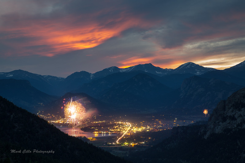 Fireworks display over Estes Park on the 4th 2015