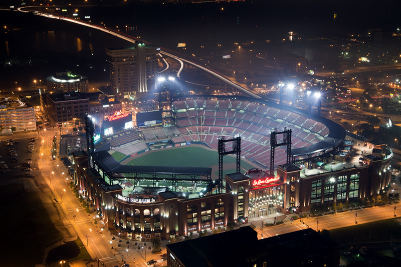 View of Busch Stadium as seen from the federal court building. Shot just before the fireworks display on the 4th