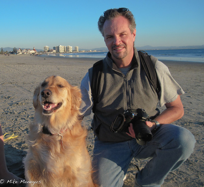 my wife took this picture with her Canon point and shoot....have to get her a Nikon. Shelby, my trustee companion at Dogs Beach