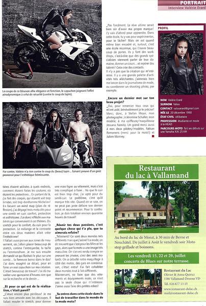 Dans le Moto Sport Suisse édition du 19 juillet 2011.<br /> <br /> Shooting pour une amie afin de rentrer dans son école de stylisme à Genève.