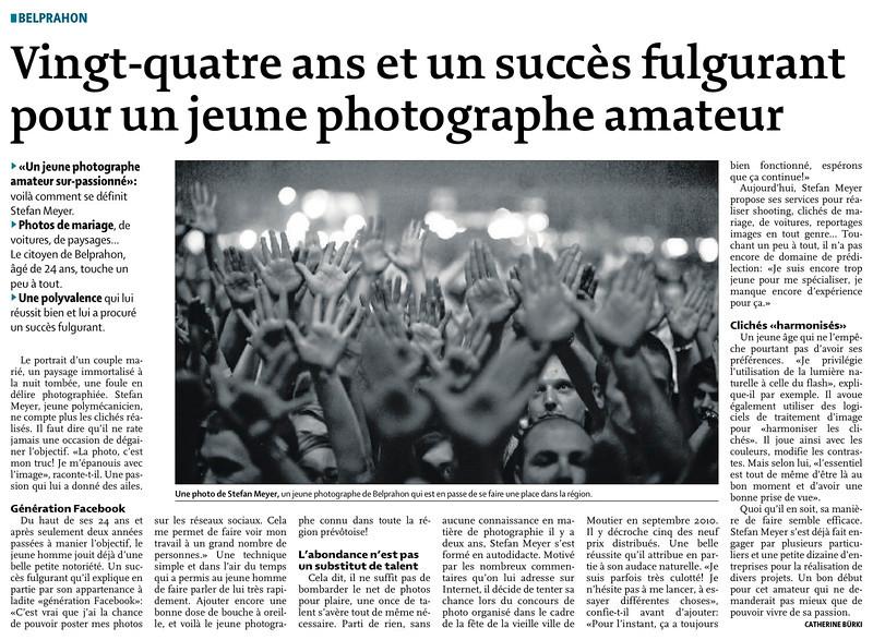 PUBLICATIONS : <br /> <br /> <br /> <br /> <br /> <br /> <br /> Le quotidiens jurassien du samedi 16 juillet 2011. <br /> <br /> Article parlant d'un jeune photographe de 24 ans ;)