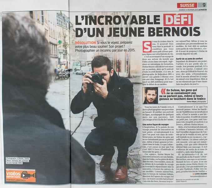 """Interview dans le Matin le 14 février 2015 pour le projet """"a portrait a day"""" <br /> <a href=""""http://stefanmeyerch.tumblr.com"""">http://stefanmeyerch.tumblr.com</a><br /> <br /> le reportage Vidéo ici :  <a href=""""http://www.lematin.ch/news/standard/365-portraits-stefan-meyer/story/21810420"""">http://www.lematin.ch/news/standard/365-portraits-stefan-meyer/story/21810420</a>"""