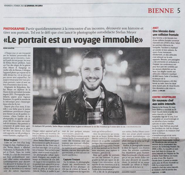"""Interview dans le Journal du Jura le 06 février 2015 pour le projet """"a portrait a day"""" <br /> <br /> <a href=""""http://stefanmeyerch.tumblr.com"""">http://stefanmeyerch.tumblr.com</a>"""