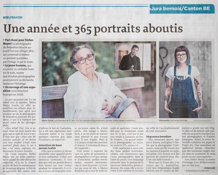 Interview dans le Quotidien Jurassien du 31.12.2015