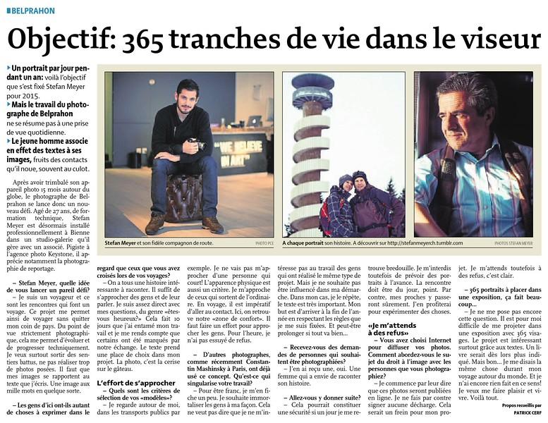 """Interview dans le Quotidien Jurassien le 09 janvier 2015 pour le projet """"One day one picture""""<br />  <br />  <a href=""""http://www.stefanmeyerch.tumblr.com"""">http://www.stefanmeyerch.tumblr.com</a>"""