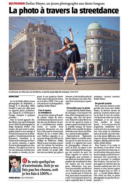 Un superbe article dans le Journal du Jura du 26 septembre 2012 à propos de mes images de streetdance !