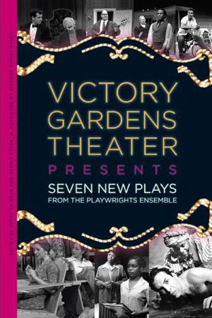 "Photo of Biograph Theater Marquee lights published on the cover of  the book titled ""Victory Gardens Theater Presents Seven New Plays""."