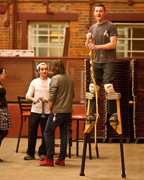 Craig Bortmas on stilts