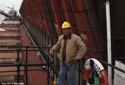 At Marquette on board the steamer Michipicoten in 2010 waiting to load ore for Sault Ste Marie, Ontario