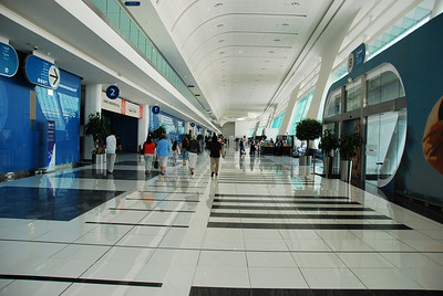 The main corridor of the exhibition centre in Abu Dhabi.