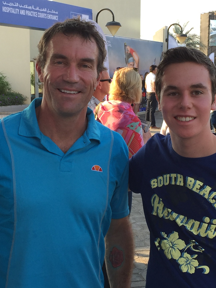 ols and Pat Cash - a really nice bloke who didnt mind stopping and having his pic taken with Ols.