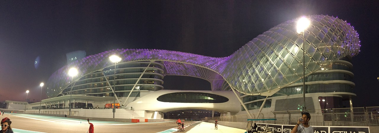 Yas Island F1 Circuit Hotel.  We spend the evening biking around the track at night.  Great fun with load music and lights.