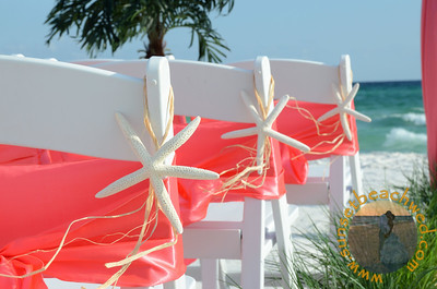 Starfish Chair Hangers with Coral Sashes