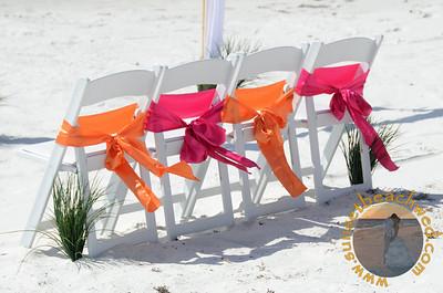 Hot Pink (Fuchsia) and Orange Chair Sashes
