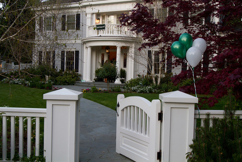 Newly admitted students and their parents met at Jeff's house in Atherton.