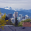 Downtown Vancouver and the Lions from top floor of Adrienne and John's house