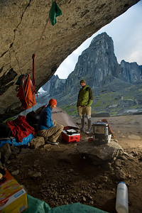 Terri Cairns and Peter Mather playing scrabble in  our cave campsite.The Cirque of Unclimbables, a circle of granite walls, is a rock climbing mecca which draws climbers from all over the world. Nahanni National Park is one of the world's top paddling/canoeing rivers, and  Unesco World Heritage site. The Nahanni River is also a Canadian Heritage River. Northwest Territories (NWT) Canada.