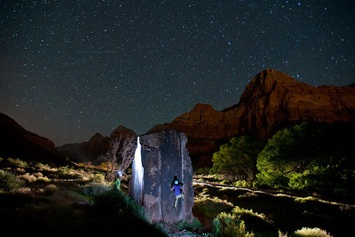 Kennedy night bouldering near the highway in Zion National Park. Rock climbing.