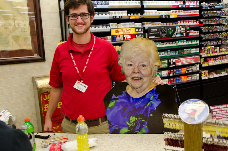 Mary gets a lesson on how to run the register at Buc-kees. She might need a third career.