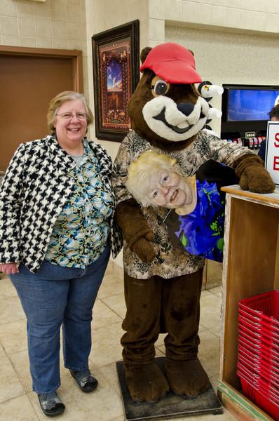 Mother meets Bucky Badger at Buckeys.