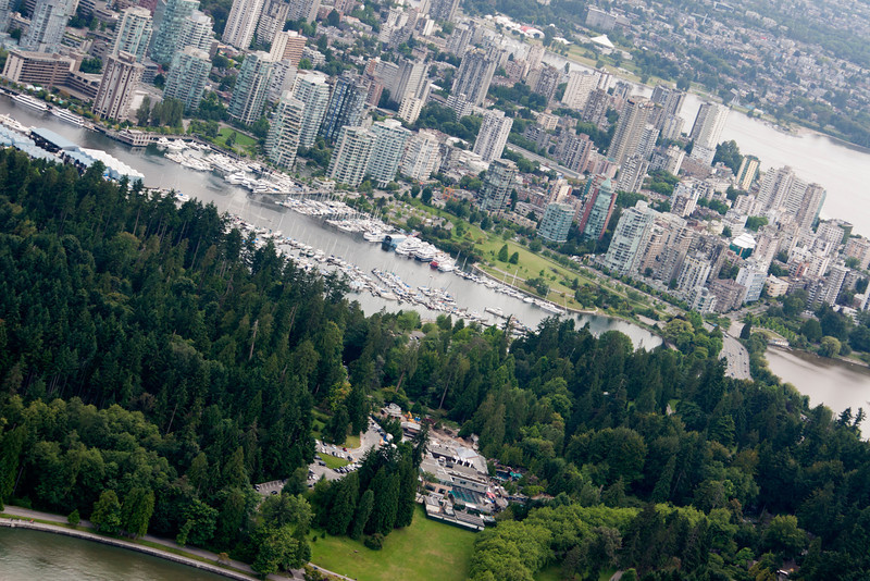 Downtown Vancouver and part of Stanley Park from the air.