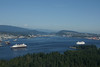 Two cruise ships leaving Vancouver for Alaska as seen from the air.