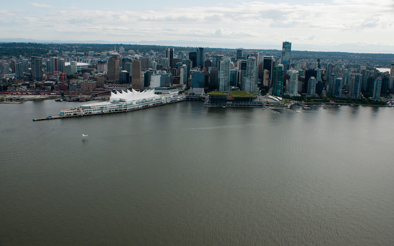 Downtown Vancouver and eastern end pf Stanley Park from the air.