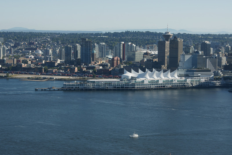Vancouver and Canada Place as seen from the air.