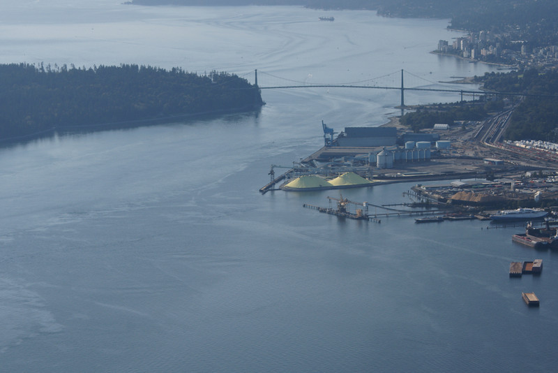 Vancouver aerial featuring the Lions Gate Bridge.