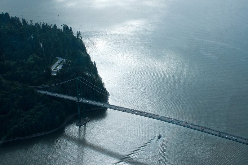 Lions Gate Bridge and Prospect Point at Stanley Park from the air.