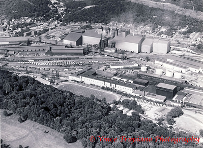 Weirton Steel Company in Weirton, WV - 1983.  William's Country Club (foreground), Weir High Football Stadium, the Sheet Mill, and the Massive Basic Oxygen Plant (BOP).