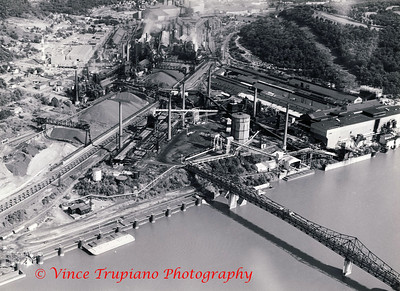 Weirton Steel Company in Weirton, WV - 1983.  The Weirton Steel bridge which spanned the Coke Plant on Brown's Island to the Coke Plant on the main land.