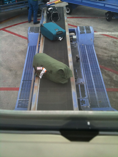 Just for fun.. How often do you see your own luggage going up the conveyor into the plane? lol