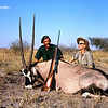 Mother and John Kingsley-Heath with exceptional southern oryx from Angola.