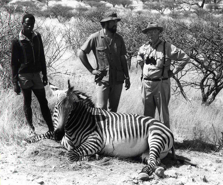 Dad with Volker Grellman, native tracker and Mountain zebra from Southwest Africa (now Namibia) in 1972.