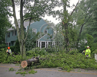 Crews Clearing More Downed Trees In Another Yard On Statler Road In Belmont,Mass.