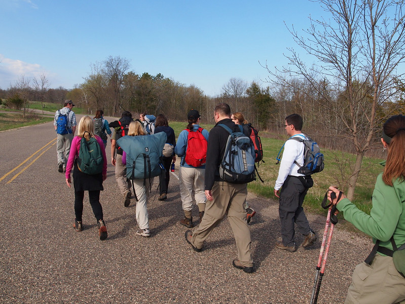 May 7, 2011 we assemble a group of 15 trainees at Afton State Park.   Hiking at the entire width of the road.... is this a try for the Darwin award?