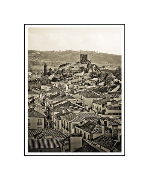 """The Castle at Obidos""<br /> <br /> Photograph: 8""x10.66"" archival gelatin silver print<br /> Frame: 16""x20"" white matte w/ black core, black metal frame"