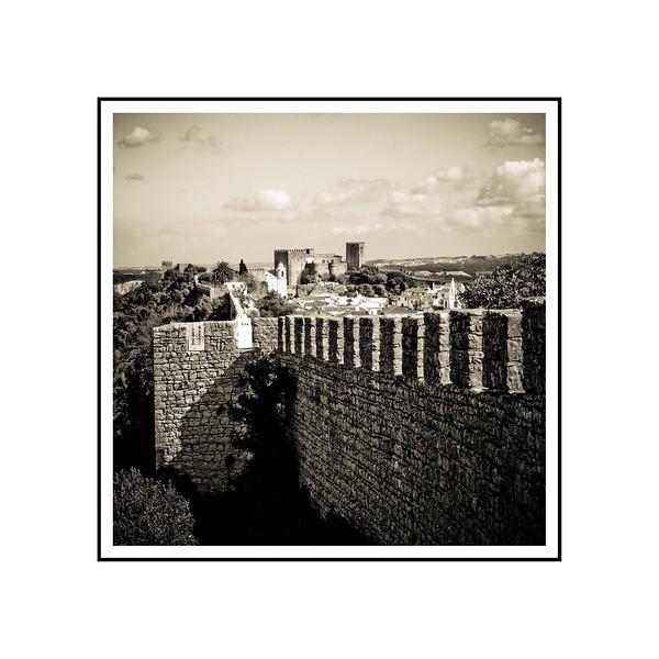 """Obidos, Portugal""<br /> <br /> Photograph: 9""x9"" archival gelatin silver print<br /> Frame size: 18""x18"" white matte w/black core, black metal frame"
