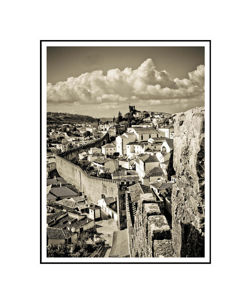 """Walled Town of Obidos""<br /> <br /> Photograph: 8""x10.66"" archival gelatin silver print<br /> Frame: 16""x20"" white matte w/ black core, black metal frame"