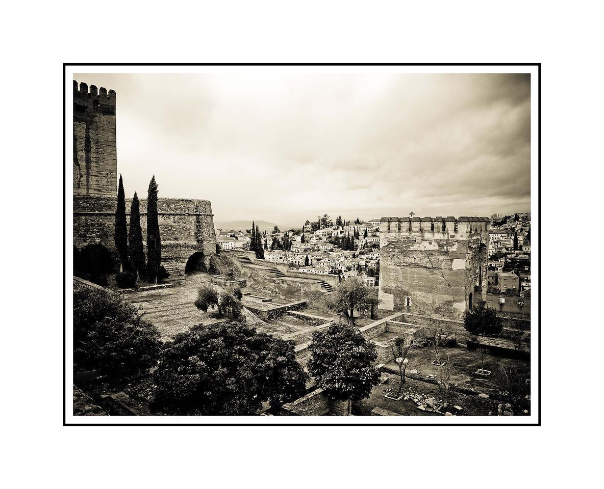 """The Alhambra - Granada""<br /> <br /> Photograph: 14.66""x11"" archival gelatin silver print<br /> Frame: 24""x18"" white matte w/ black core, black metal frame"
