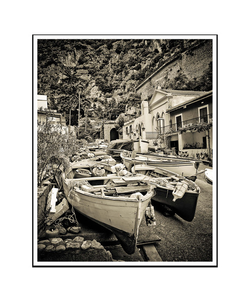 """Fishing Boats - Italy""<br /> <br /> Photograph: 11""x14.66"" archival gelatin silver print<br /> Frame: 18""x24"" white matte w/ black core, black metal frame"