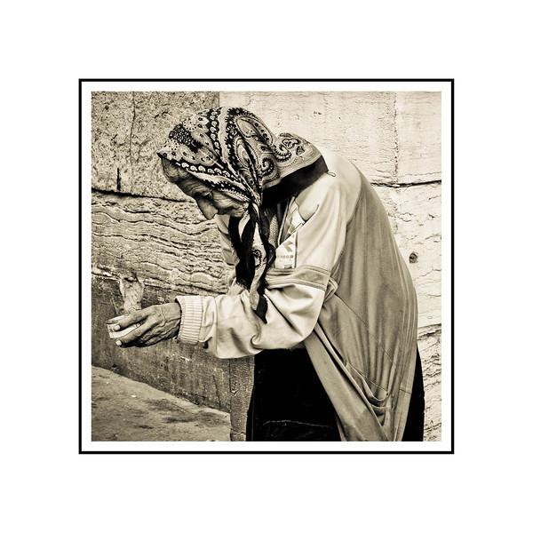 """""""Beggar Woman""""""""<br /> <br /> Photograph: 9""""x9"""" archival gelatin silver print<br /> Frame size: 18""""x18"""" white matte w/black core, black metal frame"""
