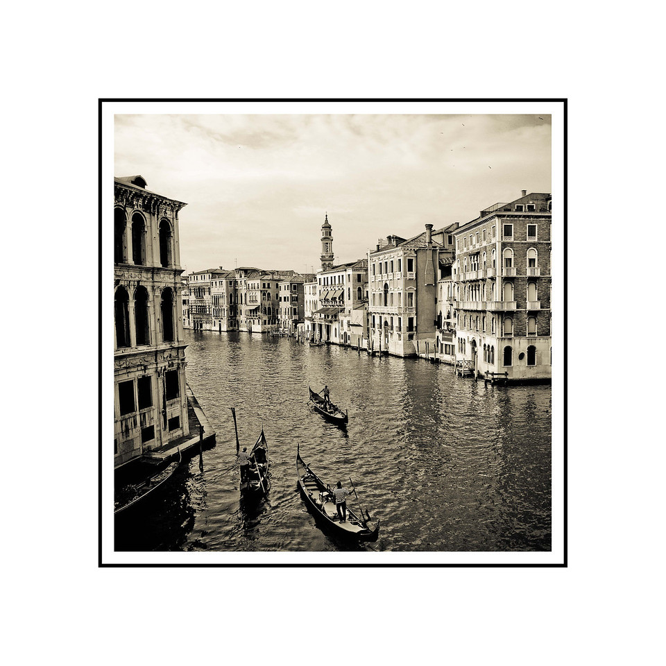 """Venice Canal #1"" <br /> Photograph: 9""x9"" archival gelatin silver print<br /> Frame size: 18""x18"" white matte w/black core, black metal frame"