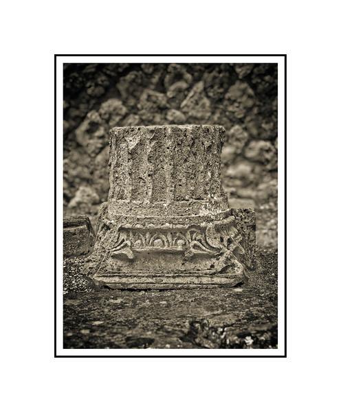 """Broken Column - Pompeii""<br /> <br /> Photograph: 8""x10.66"" archival gelatin silver print<br /> Frame: 16""x20"" white matte w/ black core, black metal frame"